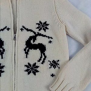 United Colors Of Benetton Sweaters - Benetton Vintage Cream Hooded Knitt Wool Cardigan